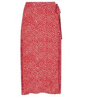 Apricot Red Spot Wrap Midi Skirt New Look