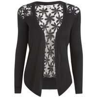 Blue Vanilla Black Floral Lace Back Cardigan New Look