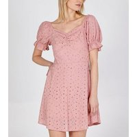 Blue Vanilla Pink Broderie Puff Sleeve Dress New Look