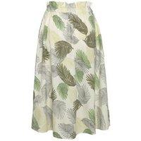 Blue Vanilla White Leaf Tie Waist Midi Skirt New Look