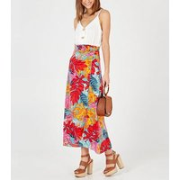 Blue Vanilla Red Tropical Maxi Wrap Skirt New Look