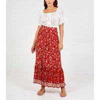 Blue Vanilla Red Floral Ruffle Midi Skirt New Look
