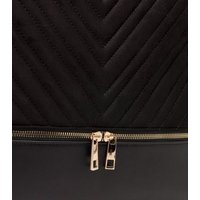Black Quilted Tote Bag with Detachable Purse New Look Vegan