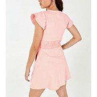 Blue Vanilla Pink Button Up Tea Dress New Look