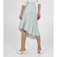 Blue Vanilla Mint Green Satin Jacquard Asymmetric Midi Skirt New Look