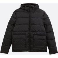 Mens Black Hooded Puffer Jacket New Look
