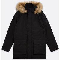 Black Faux Fur Hood Heavyweight Parka Coat New Look