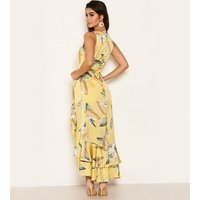 AX Paris Yellow Floral Frill Hem Maxi Dress New Look