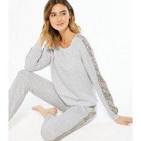Pale Grey Animal Print Stripe Sweatshirt New Look