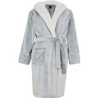 Curves Pale Grey Hooded Fluffy Dressing Gown New Look