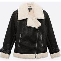 Petite Black Leather-Look Teddy Lined Aviator Jacket New Look