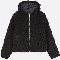 Tall Black Hooded Teddy Jacket New Look