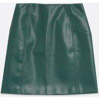 Dark Green Leather-Look Mini Skirt New Look Vegan