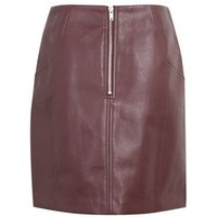 Burgundy Leather-Look Mini Skirt New Look Vegan