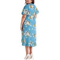 Mela Curves Blue Floral Wrap Dress New Look