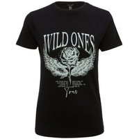 Petite Black Rose Wild Ones Slogan T-Shirt New Look