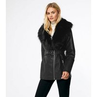 Black Leather-Look Faux Fur Collar Belted Jacket New Look