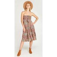 Apricot Green Geometric Tile Print Midi Skirt Dress New Look