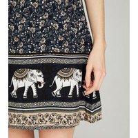 Apricot Navy Floral Elephant Border Print Dress New Look