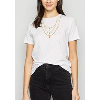 White Necklace Print T-Shirt New Look