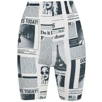 Cameo Rose Light Grey Newspaper Cycling Shorts New Look