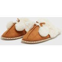 Tan Suedette Faux Fur Lined Mule Slippers New Look Vegan