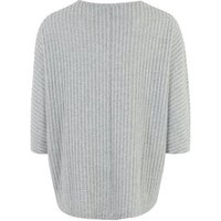 Pale Grey Ribbed Fine Knit Batwing Top New Look