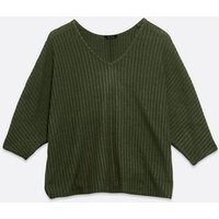 Khaki Ribbed Fine Knit Batwing Top New Look