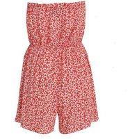 Red Ditsy Floral Bandeau Playsuit New Look