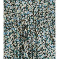 Blue Floral Shirred Bandeau Playsuit New Look
