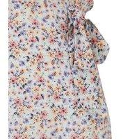 Blue Floral Flutter Sleeve Wrap Playsuit New Look