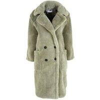 Urban Bliss Light Green Teddy Long Coat New Look