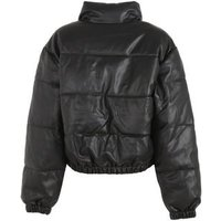 Urban Bliss Black Leather-Look Puffer Coat New Look