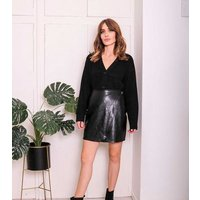Urban Bliss Black Leather-Look Wrap Mini Skirt New Look
