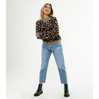 Petite Blue Ripped Knee High Waist Tori Mom Jeans New Look