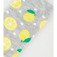 4 Pack Grey Lemon Spot Socks New Look