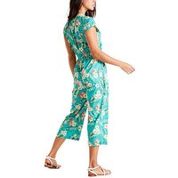 Mela Turquoise Tropical Floral Crop Jumpsuit New Look