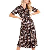 Mela Black Floral Kimono Midi Wrap Dress New Look