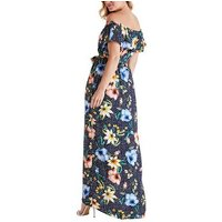 Mela Navy Floral Spot Bardot Maxi Dress New Look
