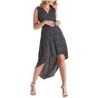 Mela Black Daisy Dip Hem Midi Wrap Dress New Look