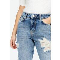 Petite Blue Roll Hem Ripped High Waist Tori Mom Jeans New Look
