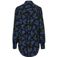 Blue Floral Print Long Dip Hem Shirt New Look