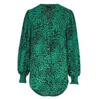 Green Leopard Print Puff Sleeve Long Shirt New Look