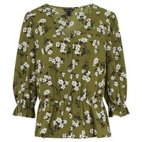 Olive Floral Button Up Peplum Blouse New Look