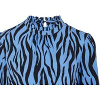 Blue Tiger Print High Frill Neck Blouse New Look