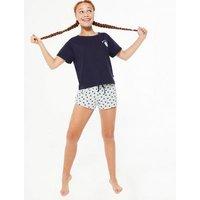Girls Blue Love Your Home Slogan Short Pyjama Set New Look