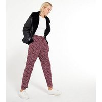 Red Soft Touch Abstract Spot Joggers New Look