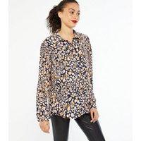 Maternity Navy Leopard Print Shirt New Look