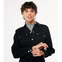 Black Denim Long Sleeve Shirt Dress New Look