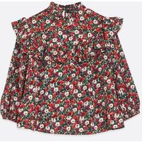 Petite Red Floral Frill Trim High Neck Blouse New Look